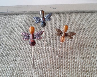 Designer beaded pins for your pinboard, Bronze, copper and silver dragonflies and beads on pearl head pins for your bulletin board