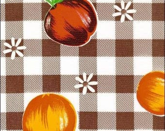 Round Brown Gingham and Fruit Oilcloth Tablecloth