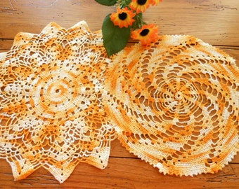 Two Vintage Hand Crocheted Doilies Orange Yellow And White
