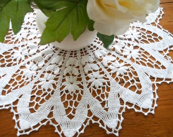 Vintage White Hand Crocheted Cotton Flower Petal Doily