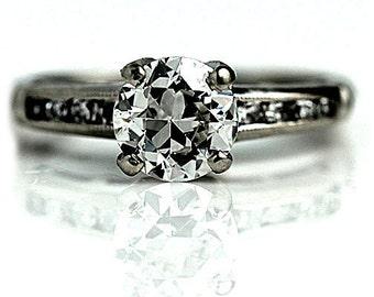 Vintage Diamond Engagement Ring  1.11ctw Old European Cut Antique Diamond Wedding Ring 14K White Gold Art Deco Diamond Ring Size 7.75!