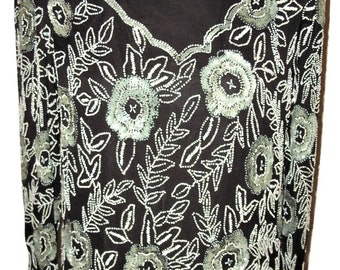Vtg 1980s Stenay Black Gray White Sequin/Beaded Dress Sz 10