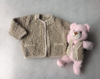Baby girl sweater with little teddy bear Cotton Baby cardigan 3-6 months Girls clothing Gift for girl Knit Crochet Infants Baby fashion