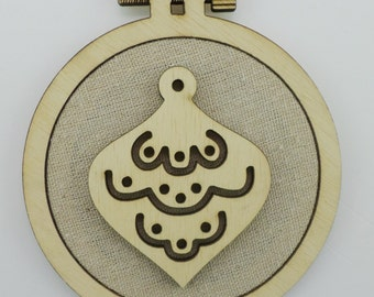 Christmas Ornament - Laser cut embroidery hoop with quality textile