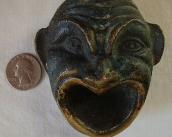 Vintage BRASS HOWLING DEVIL Signed Cast Brass Howling Devil Ashtray Dish Key Holder Key Stash Art Signed Brass Verdigris Antique Brass Devil