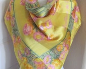 """RESERVED Wow! Made in Italy Large Yellow Floral Soft Silk Scarf  // 35"""" Inch 95cm Square // Best of the Best"""