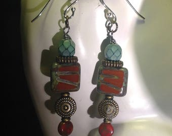 Red Czech and turquoise bead earrings and sterling hooks