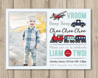TRANSPORTATION Birthday Party Invitation, Boy 2nd Birthday Party, Planes Trains and Automobiles, Photo Invitation, Digital or Printed 5x7