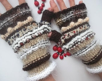 SALE 20% OFF GLOVES Women Bohemian Accessories Boho Hand Knitted Fingerless Mittens Warm Wrist Warmers Winter Feminine Cabled Striped 1173