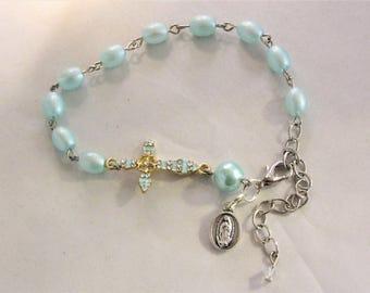 Aqua Blue Cross Rosary Bracelet