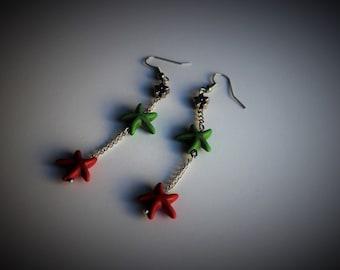 Red earrings - green earrings, Christmas earrings, long earrings, red and green stones, gift for her