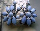 50s Jewelry: Earrings, Necklace, Brooch, Bracelet DeLizza and Elster aka Juliana Cornflower Blue Cushion Navette Climber Earrings  1950s $62.50 AT vintagedancer.com