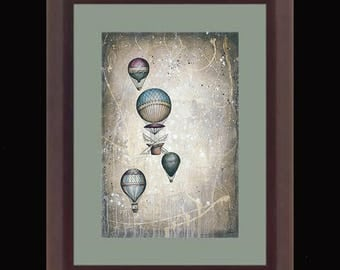 PRINT or GICLEE Reproduction -- Hot Air Balloons 12 x 18 -- Taking to the Skies I
