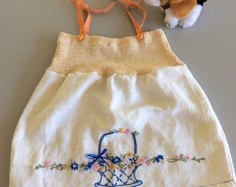 Handmade 2T Girls Sundress Hand Embroidered Basket of Flowers Vintage Upcycled White Linen Fabric Cute Girls Jumper One of a Kind