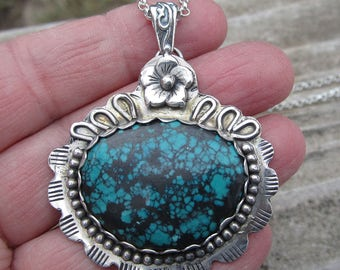 Native American Inspired Pendant Turquoise Pendant Sterling Silver Pendant Gemstone Pendant