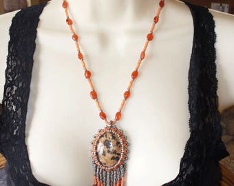Carnelian and Unakite Bead Embroidered Necklace