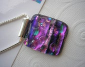 "Pendant Purple Fuschia Fantasy Dichroic Glass Jewelry Kiln Fused .925 Sterling Silver Italian Box Chain 20"" Purple Glass Jewelry Home Made"