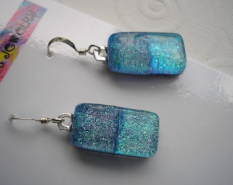 Earrings Dichroic Glass Sparkle in Blue .925 Sterling Silver Earwires Fused Glass Kiln Fired Blue Jean Blue and Aqua Glitter Dangles Dichro