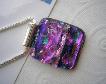 "Dichroic Glass Jewelry Pendant Purple Fuschia Fantasy Kiln Fused .925 Sterling Silver Italian Box Chain 20"" Purple Glass Jewelry Home Made"