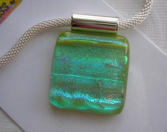Pendant Spring Green with Mint Dichroic Kiln Fused Glass Green Necklace Iridescent Mesh Chain Statement Jewelry Shimmering Sparkle Dichronic