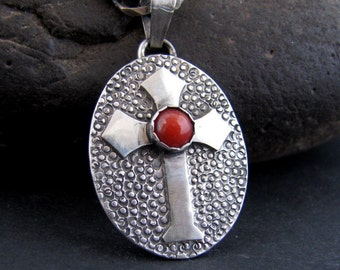Apocalypto Sterling Cross with Red Carnelian Pendant