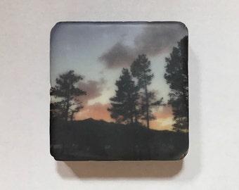 encaustic on Handmade Cast Adobe Tile - Sunset Silhouette
