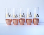 Rose Gold Dipped Stemless Champagne Flutes, Bachelorette Party  Wedding Flute / Wedding Shower / Toasting Glass