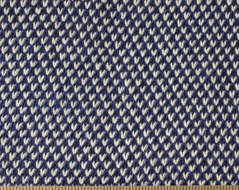 Navy Blue and Cream Chunky Sweater Knit Fabric, 1 Yard
