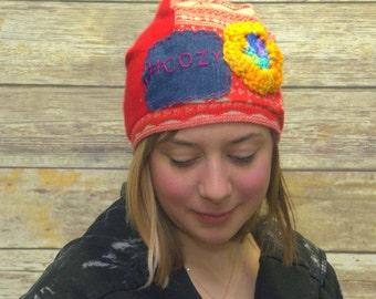 Upcycled Sweater Hat - Patchwork Hat - Slouchy  Hat - Hipster Hat - Winter Hat - Stocking Stuffer - Repurposed -Cozy Hat - Boho Hat -Womens