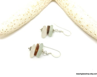 Sea Glass Earrings - Lake Erie Beach Glass - Triple Drilled Pierced Earrings - FREE Shipping inside the United States