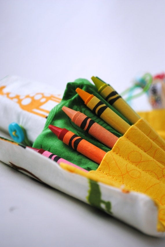 Animal Crayon Roll-Gift for Kids-Toddler Gift-Preschool Gift-Crayon Organizer-Travel Activity
