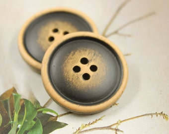 Wooden Buttons - Black Brushed Effect Retro Wood Buttons. 8 pcs, 1 inch