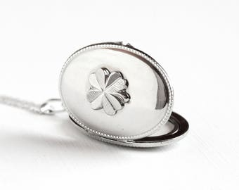 Vintage Silver Plated Four Leaf Clover Locket Necklace - 1940s WWII Germany Pendant Shamrock Good Luck Sterling Chain Photograph Jewelry