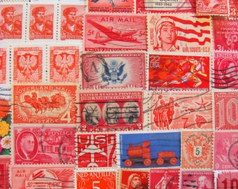 Shades of Red 100 Vintage Postage Stamps Assorted Reds Postage Stamps Ruby Red Pink Blood Fire Engine Crimson Carmine US Worldwide Philately