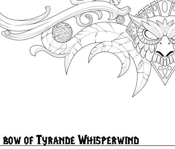 eclipse bow of tyrande whisperwind line art pdf blueprint