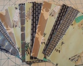 SALE, Fabric Grab Bag, Tee Pee, Grey, Teal and Blue Fabrics, 20 pieces, Bag 38