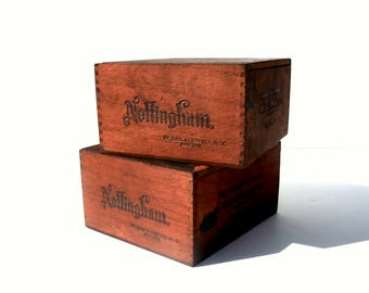 Vintage Antique Wood Cigar Boxes / Gift Box / Storage Box / Set of 2 / Nottingham Cigar Box / Storage Organization / Old Wood Boxes