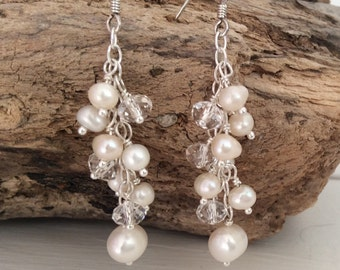Freshwater pearl and swarovski earrings with Sterling silver- white ivory bridal earrings