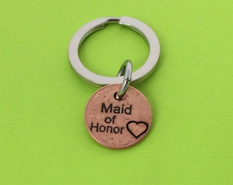Maid of Honor Keychain -  Wedding Gift - Personalized Keychain  - Hand Stamped -  Keychain - Wedding - Friend - Bridesmaid - Bridal Party