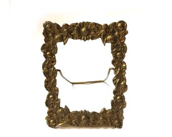 Small Ornate Floral Brass Picture Frame Petite Tabletop Easel Back Frame