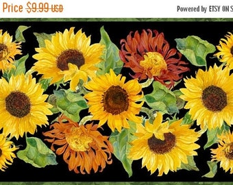 """on sale Sunflowers Flowers of the Sun  Quilt Fabric Panel 24"""" x 44"""""""