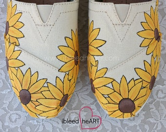 Yellow Sunflower Custom Painted TOMS Shoes - Sunflower Fields - Spring Flowers - Hand Painted Shoes - Flower Power - Wearable Art