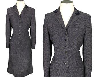 vintage 1950s lurex suit • SPARKLE KNIT in navy blue & metallic thread