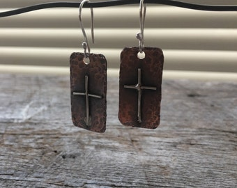 Old Rugged Cross Hammered Sterling Silver on Copper Dangle Earrings/Cross Earrings/Rustic Cross Jewlery/Rustic Jewelry/Inspirational Cross