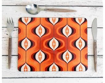 1970s Op Art Placemat Set - Orange Placemats - Retro placemat Set - Orange Tableware - Retro tableware - Retro Decor - Retro Wedding Gift