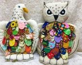 Vintage Handmade Owl Eagle Pillow Pair Stuffed Animal Doll Folk Art