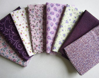 8 Assorted Purples Cotton Fabric Scraps, Fat Sixteenths, Stash Builder, Destash, Quilting, Sewing