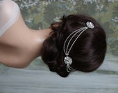 Art Deco Headpiece - Draped chain Hair Accessories - 1920s Bridal headpiece - Crystal headpiece -Art Deco wedding dress