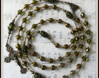 Olive Green Cathedral Bead Rosary in Bronze