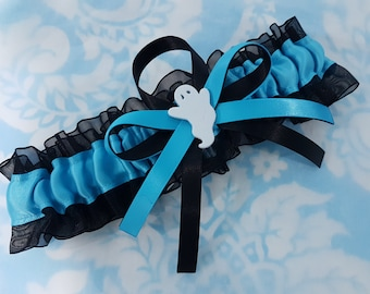 Ghost Themed Wedding Garter turquoise blue and black, Halloween garter, ghost garter